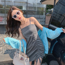 Dress Spring 2021 grey Average size Short skirt singleton  Sleeveless commute other High waist Solid color Socket other other camisole 18-24 years old Type H Other / other Korean version 91% (inclusive) - 95% (inclusive) cotton