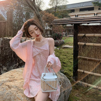 Dress Spring 2021 Pink long, pink short S,M,L Mid length dress singleton  Sleeveless commute V-neck High waist Broken flowers Socket A-line skirt camisole 18-24 years old Type A Other / other Korean version 30% and below other