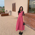 Dress Spring 2021 rose red Average size Mid length dress singleton  Sleeveless commute Crew neck High waist Solid color A-line skirt other 18-24 years old Type A Other / other Korean version 30% and below cotton