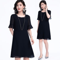 Women's large Summer 2021 black L (about 115-125 Jin), XL (about 125-140 Jin), 2XL (about 140-155 Jin), 3XL (about 155-170 Jin), 4XL (about 170-185 Jin), 5XL (about 185-205 Jin), 6xl (about 205-220 Jin) Dress other Solid color polyester pagoda sleeve E3796 Other / other 35-39 years old 96% and above