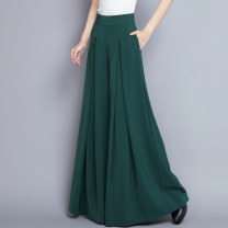 Casual pants Green, red, white, black 6576, off white, skin pink 26,27,28,29,30,31,32,33 Spring 2021 trousers Wide leg pants High waist Versatile routine Q6576 Qslz / qingshuiling seed fold