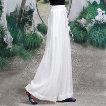 Casual pants white Average size Spring 2021 trousers Wide leg pants Natural waist commute routine literature