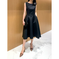 Dress Spring 2021 black S,M,L Mid length dress singleton  Sleeveless commute Crew neck High waist Solid color Socket A-line skirt routine Others 30-34 years old Type H Other / other Simplicity Zipper, printing, stitching, pleating AQ21936 81% (inclusive) - 90% (inclusive) other wool