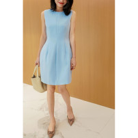 Dress Spring 2021 The sky is blue 36,38,40 longuette singleton  Sleeveless commute Crew neck High waist Solid color zipper Lantern skirt routine Others 25-29 years old Type X Other / other Simplicity zipper AQ19694 71% (inclusive) - 80% (inclusive) other polyester fiber