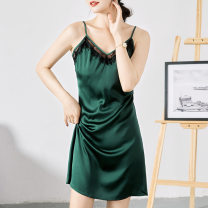 Nightdress Other / other Black, dark green, white S,M,L,XL,XXL sexy camisole pajamas Middle-skirt summer Solid color youth V-neck Polyester (polyester) Hollowing out More than 95% Lace fabric