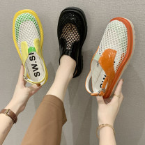 Sandals 35,36,37,38,39,40 Mesh Jamie of Min Baotou Square heel High heel (5-8cm) Spring 2021 Flat buckle Korean version Color matching Adhesive shoes Youth (18-40 years old) rubber daily Rear trip strap Low Gang Man Gang PU PU Baotou sandals Frosting