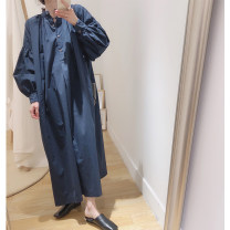 Dress Spring 2021 The last batch of white, the second batch of blue sold out, the third batch of blue sold out, the fourth batch of blue stock, the last batch of blue stock Average size Mid length dress singleton  Nine point sleeve commute stand collar Loose waist Big swing bishop sleeve Type A Retro