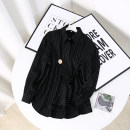 shirt black M, L Spring 2021 other 96% and above Long sleeves street Regular square neck Single row multi button routine Straight cylinder Europe and America
