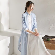 Dress Summer 2021 wathet S,M,L,XL longuette Fake two pieces three quarter sleeve commute stand collar Loose waist Solid color other other other Others 40-49 years old Type X Qing shuzhai Retro Button, button 51% (inclusive) - 70% (inclusive) other other