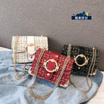 Bag Inclined shoulder bag Woollen cloth Small square bag Murano  White, black, red brand new Japan and South Korea Small leisure time hard Magnetic buckle no Solid color Single root One shoulder portable messenger nothing youth Square box chain Chain handle polyester fiber Bag with cover