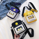 Bag Inclined shoulder bag canvas Small square bag Mesroti Black, yellow, purple brand new Japan and South Korea Small leisure time soft zipper yes Solid color Single root One shoulder portable messenger nothing youth Vertical square Color contrast Soft handle canvas Three dimensional bag