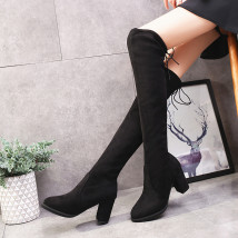 Boots 35 36 37 38 39 40 Light grey black Suede Malaya Super high heel (over 8cm) Thick heel Suede High tube Round head Pig skin cloth Autumn of 2018 Sleeve Europe and America TPR (tendon) Solid color Knee high boots Adhesive shoes Pig skin Youth (18-40 years old) winter Frosting 5518-8
