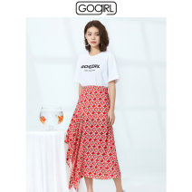 skirt Summer 2020 S/7,M/9,L/11 Floral Red Mid length dress Sweet Natural waist A-line skirt Decor Type A 25-29 years old GJ2D01 More than 95% GoGirl Viscose Lotus leaf edge