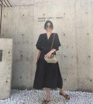 Dress Summer of 2018 black XS,S,M Mid length dress singleton  Short sleeve street V-neck High waist Solid color Socket other Lotus leaf sleeve Type H SOTHEA SA18080105 30% and below other hemp