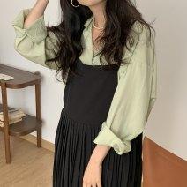 Fashion suit Summer 2021 Average size Black dress with straps, fruit green shirt 71% (inclusive) - 80% (inclusive)