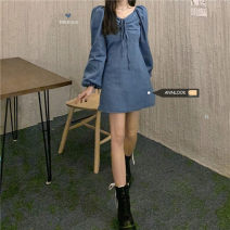 Dress Spring 2021 Picture color S, M Short skirt singleton  Long sleeves commute square neck High waist Solid color other other puff sleeve 18-24 years old Type A 30% and below other other