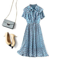 Dress Spring 2021 Blue, pink S,M,L,XL longuette singleton  Short sleeve commute other Elastic waist Dot Socket Pleated skirt routine Others Type X CG / Chaoge Ol style Lace up, Ruffle A99458 Chiffon polyester fiber