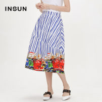 skirt Summer of 2018 36 38 40 42 44 blue Middle-skirt Versatile Natural waist A-line skirt Abstract pattern Type A 30-34 years old More than 95% Insun / Enshang cotton Patchwork printing Cotton 97.2% polyurethane elastic fiber (spandex) 2.8% Same model in shopping mall (sold online and offline)