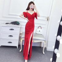Dress Summer 2020 Red, black S,M,L longuette singleton  commute V-neck High waist Solid color camisole 18-24 years old Korean version A7.13-5