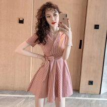 Dress Summer 2021 gules S,M,L,XL Short skirt singleton  Short sleeve commute V-neck High waist stripe other A-line skirt routine Others 18-24 years old Type A Retro Bandage