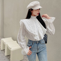 shirt White, green Average size Spring 2021 other 30% and below Long sleeves commute Regular stand collar routine Solid color 18-24 years old Straight cylinder lady D20201231.26
