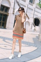 T-shirt Apricot, blue, red M 95 Jin, l 105 Jin, XL 115 Jin, XXL 125 Jin, XXL 135 Jin Summer 2021 Short sleeve Polo collar Regular routine commute cotton 96% and above Britain Thin horizontal stripe Tagkita / she and others