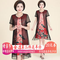 Middle aged and old women's wear Summer of 2019 Green red L XL 2XL 3XL 4XL 5XL 6XL ethnic style Dress easy Fake two pieces Flower and bird pattern 40-49 years old Socket moderate Crew neck Medium length routine XS19Bj669 Xinsheng polyester Other polyester 95% 5% 91% (inclusive) - 95% (inclusive) Lace