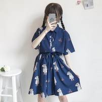 Fashion suit Summer of 2019 Average size Navy Pants, Navy top, pink top, pink pants, purple pants, purple top 18-25 years old