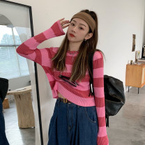 Wool knitwear Autumn 2020 Average size Grey, green, black, pink Long sleeves singleton  Socket other 30% and below have cash less than that is registered in the accounts Thin money commute Straight cylinder Low crew neck routine stripe Socket Korean version 18-24 years old