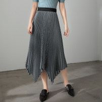 skirt Autumn 2020 S,M,L The weave pattern is black and the weave pattern is yellow Mid length dress Irregular lattice 25-29 years old 30% and below Silk and satin Cellulose acetate Fold, asymmetry, zipper, stitching