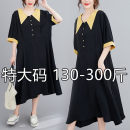 Women's large Summer 2020 Black (priority for collection) 2XL (120-160 kg recommended), 3XL (170-210 kg recommended), 4XL (220-260 kg recommended), 5XL (273-300 kg recommended) Dress commute easy Solid color 25-29 years old