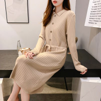 Wool knitwear Autumn 2020 S,M,L,XL,2XL Blue, black, khaki, Navy, brick red Long sleeves singleton  Socket other 51% (inclusive) - 70% (inclusive) Medium length routine commute easy routine Socket Korean version HM-FL-18 Yiyun Qingluo Strap, thread, button