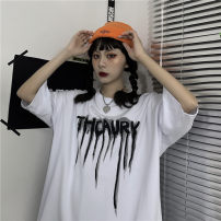 T-shirt White, black L,M,XL Summer 2021 Short sleeve Crew neck easy Regular routine commute cotton 30% and below 18-24 years old Korean version originality