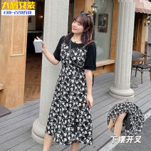 Dress Summer 2021 Black dress XL,2XL,3XL,4XL longuette Fake two pieces Short sleeve Sweet Crew neck Loose waist Decor Socket A-line skirt routine Others 25-29 years old Type A Other / other printing Chiffon