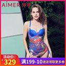 Split swimsuit Adoration Blue print 160,165,170 Skirt split swimsuit No steel support, no chest pad AM672872 female