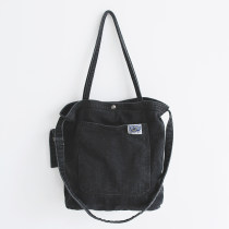 Bag The single shoulder bag Denim other Maoxi Retro Black brand new Retro in leisure time soft Magnetic buckle yes Solid color Three One shoulder cross
