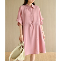 Dress Summer 2021 Misty blue, soft pink M,L,XL,2XL Mid length dress singleton  Short sleeve commute Polo collar Loose waist Solid color Single breasted other routine Others Type X Natural products literature More than 95% Chiffon polyester fiber
