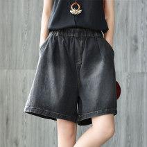 Jeans Summer of 2019 Blue, black L [120-145 Jin], XXL [170-200 Jin], m [95-120 Jin], XL [145-170 Jin] Pant Natural waist Wide legged trousers Thin money 30-34 years old Washable, Multi Pocket Cotton denim Dark color WQ0708