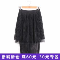 skirt Summer of 2019 S,M,L Mid length dress fresh Natural waist Solid color Type A Lace, stitching, mesh