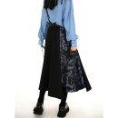skirt Spring 2021 S,M,L Black, black second batch longuette commute High waist A-line skirt Decor Type A 25-29 years old W006 polyester fiber printing