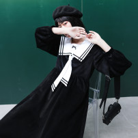 Dress Winter of 2019 Grey powder mixing, black second batch S,M,L longuette singleton  Long sleeves Sweet Admiral High waist routine 18-24 years old Type A C672 More than 95% polyester fiber college