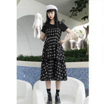 Dress Summer 2020 black S,M,L Mid length dress singleton  Sleeveless Sweet High waist Cake skirt camisole 18-24 years old Type A C750 30% and below nylon solar system