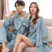 Pajamas / housewear set lovers Other / other Female m, female L, female XL, female XXL, male L, male XL, male XXL, male XXXL Polyester (polyester) Long sleeves Simplicity Leisure home spring Thin money Shirt collar Solid color trousers Front buckle youth 2 pieces rubber string silk lace Short skirt