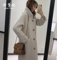 woolen coat Spring 2021 S. M, l, XL, 2XL, do not buy pre-sale money Black, beige, beige thickened, black thickened polyester 95% and above Medium length Long sleeves commute Single breasted routine Solid color Self cultivation Korean version Solid color polyester fiber