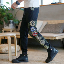 Casual pants Others Youth fashion black M,L,XL,2XL,3XL,4XL,5XL routine Ninth pants Other leisure Self cultivation get shot mspw2018071801 Four seasons teenagers Chinese style 2018 middle-waisted Little feet Sports pants Embroidery No iron treatment