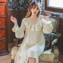 Nightdress Other / other M,L,XL Sweet Long sleeves pajamas longuette spring Solid color youth V-neck lace pure cotton