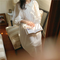 Nightdress Other / other white L (one size), XL (large) Sweet Long sleeves pajamas longuette spring Solid color youth Small lapel cotton lace pure cotton