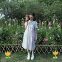 Dress Summer of 2019 Rainbow powder S, M Mid length dress singleton  Short sleeve Sweet Admiral Loose waist stripe Three buttons 18-24 years old More than 95% cotton solar system