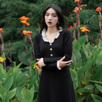 Dress Winter 2020 Hepburn black S,M,L singleton  Long sleeves commute V-neck High waist Solid color zipper puff sleeve Others Type H Chicory court J2013