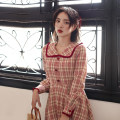 Dress Autumn 2020 Red lattice XS,S,M,L,XL Mid length dress Long sleeves commute Chicory Retro J200